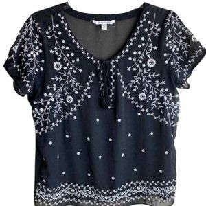 American Eagle Outfitters Black Semi Sheer Blouse